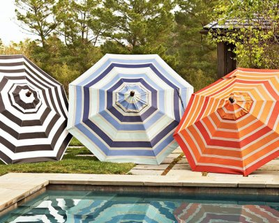 B These Sunbrellas from Pottery Barn can add a pop of color or graphic  punch to your backyard. The black and white stripes is especially chic and  could work ... - Add Outdoor Style With Patio Umbrellas MJN And Associates Interiors