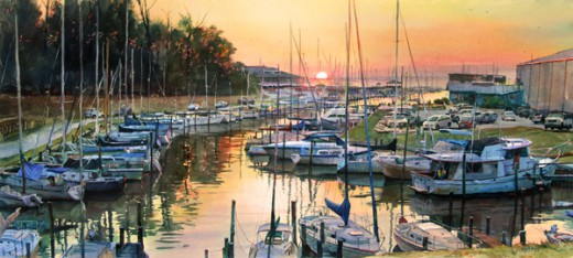 marina painting by Keith Andry