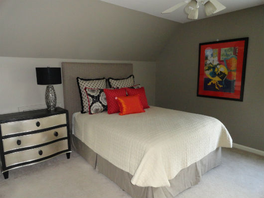 White Bedroom With Pop Of Color atlanta custom home design | mjn and associates interiors