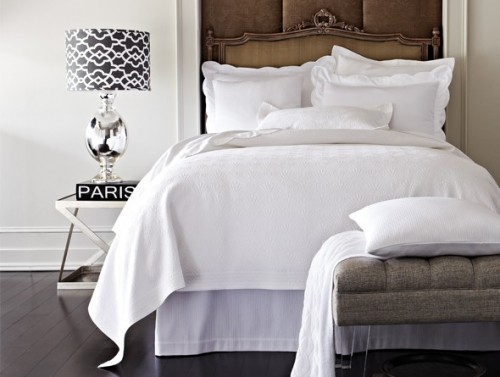 matelasse bedding in contemporary bedroom