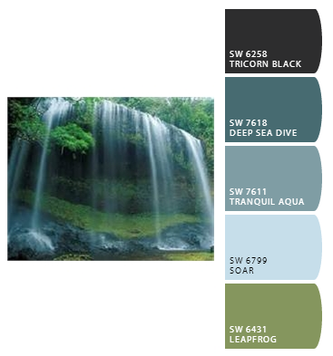 Waterfall Inspired Spa Bedroom Colors