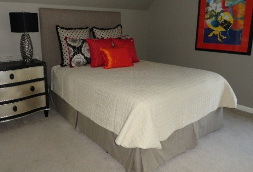 tailored bedskirt, custom bedding