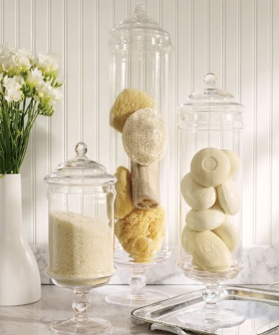 apothecary jars in spa bathroom design
