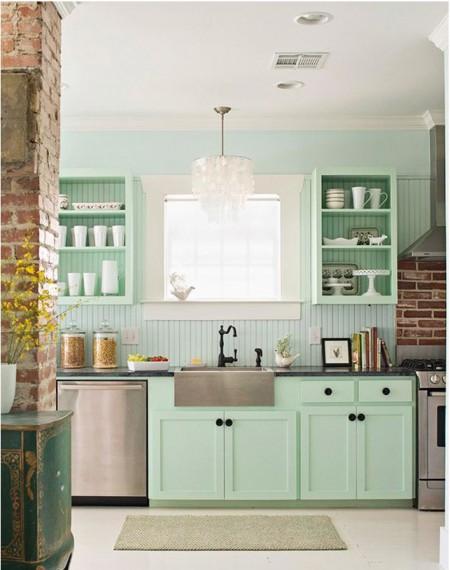 Beach House Interior Design  Pastel Kitchen