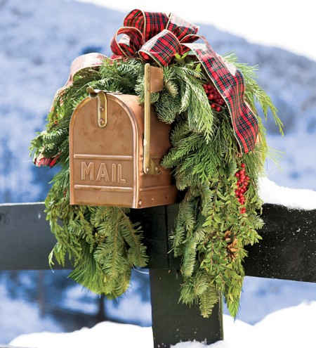 greenery on mailbox for holiday decor