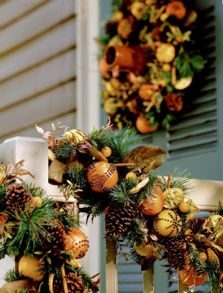 colonial style christmas decor with clove oranges