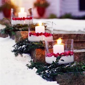 Cranberry luminaries for Christmas decor