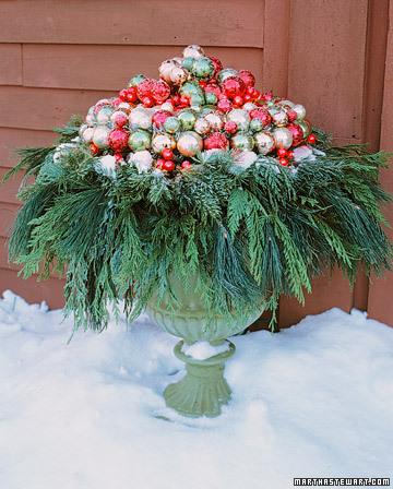 Christmas ornament urn topper