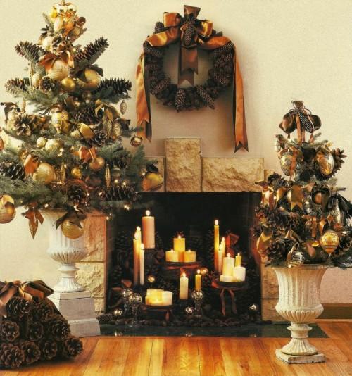 burnt orange Christmas decor with pinecones
