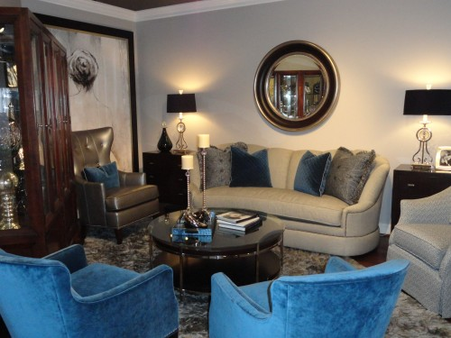 blue and gray furniture interior design trend