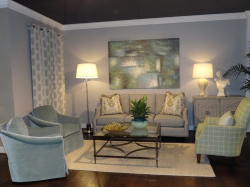 room showing gray blue and green color scheme