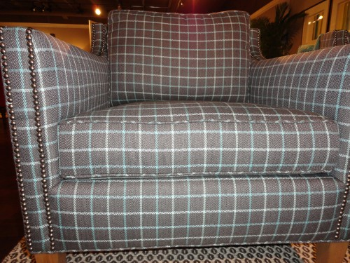 plaid chair showing quality upholstery technique