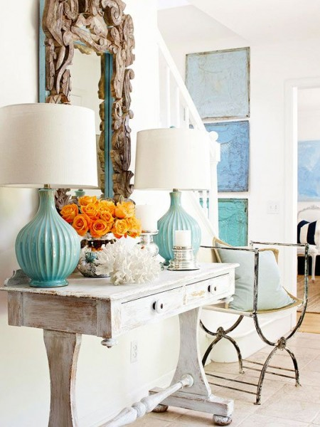 Coastal Interior Design With Whitewashed Table
